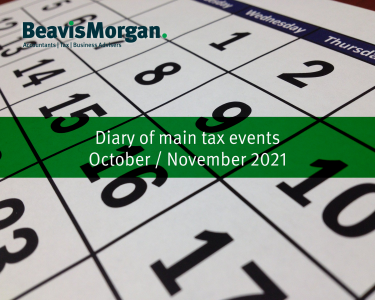Diary of main tax events October / November 2021